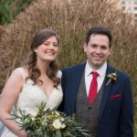 Laura and Matt on their wedding day at Falcon Manor