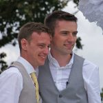 Ben and Steve on their wedding day at Kingstanding Farm.
